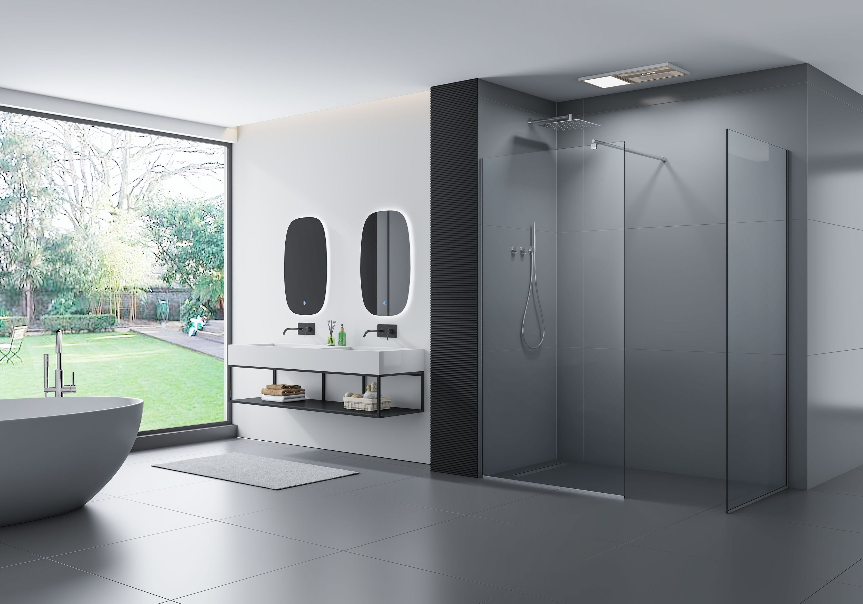 Walk-In 10mm Nano Echtglas EX102 - Klarglas - 2 Glaswände & 14mm Edelstahlprofil - Profilfarbe & Breite wählbar
