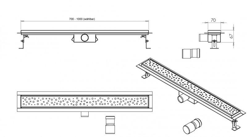 Edelstahl-Duschrinne G014 für Duschkabine inkl. Ablaufblende Elegant - Länge wählbar zoom thumbnail 4