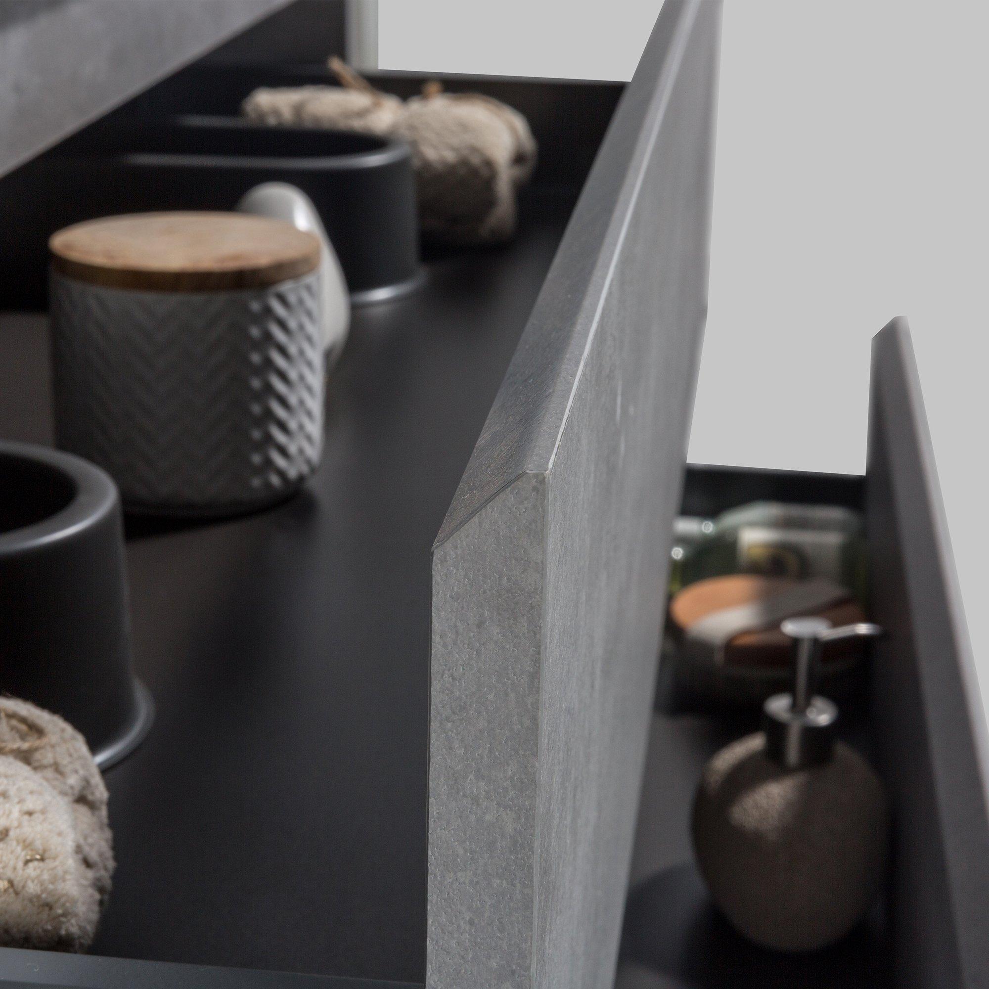 Badmöbel-Set Alice 1200 Beton-Optik - Spiegel und Seitenschränke optional zoom thumbnail 4