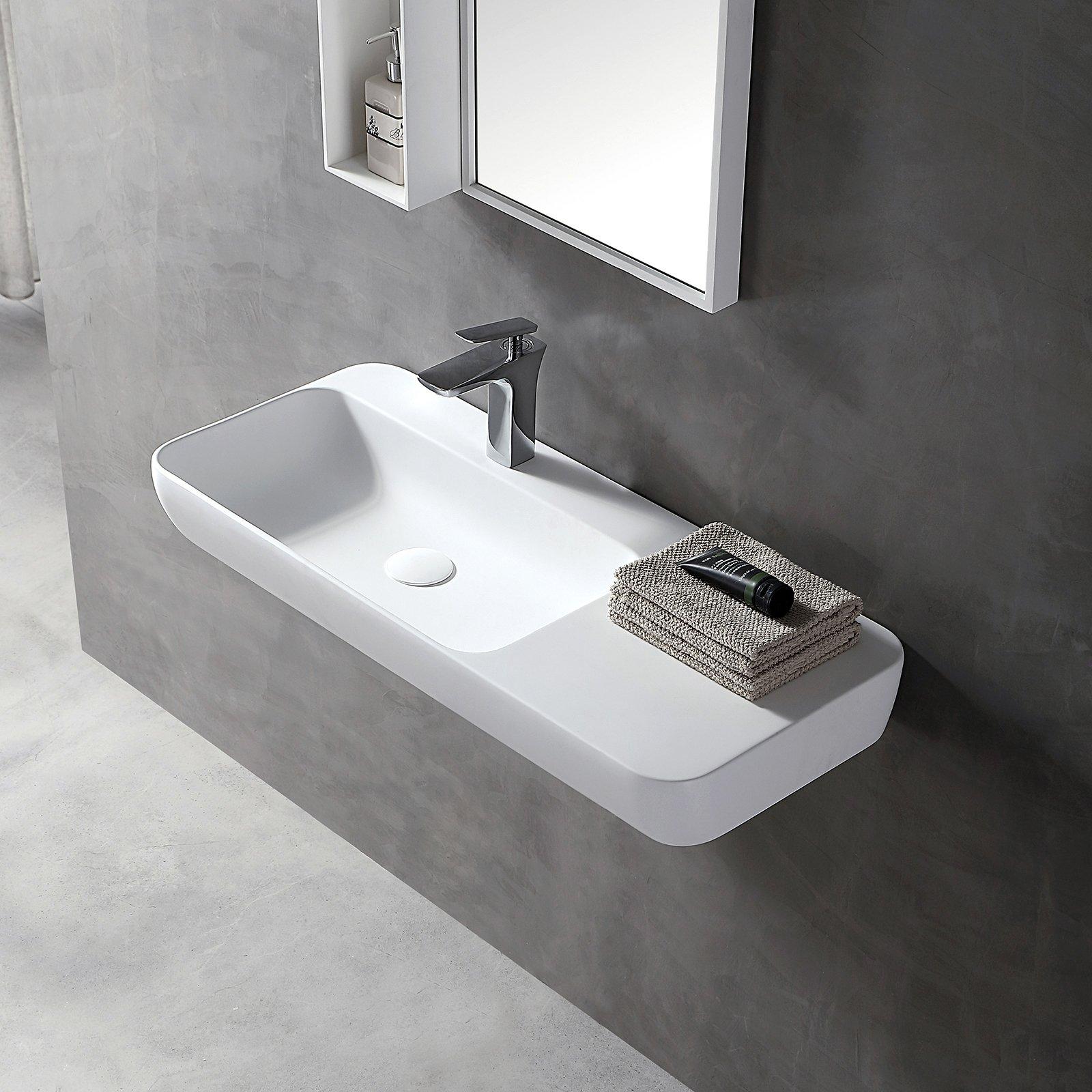Wandwaschbecken Aufsatzwaschbecken TWG202 aus Mineralguss Solid Stone - Weiß matt - 90x40x12cm