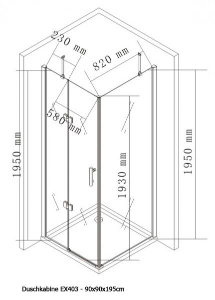 Duschkabine Eckdusche Nano Echtglas EX403 - 90 x 90 x 195 cm zoom thumbnail 5