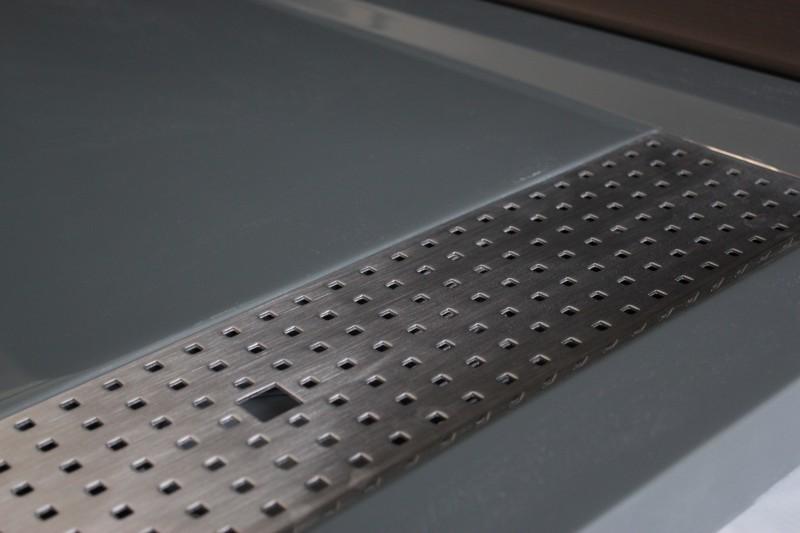 Mineralguss Duschtasse rechteckig 1280BG Edelstahl - Grau glänzend - 120x80x4,5cm