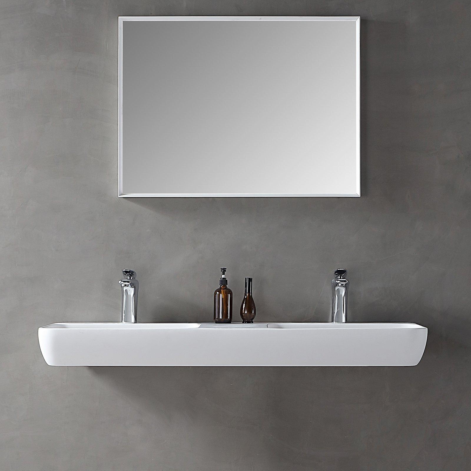 Wandwaschbecken Aufsatzwaschbecken TWG203 aus Mineralguss Solid Stone - Weiß matt - 120x40x12cm zoom thumbnail 4
