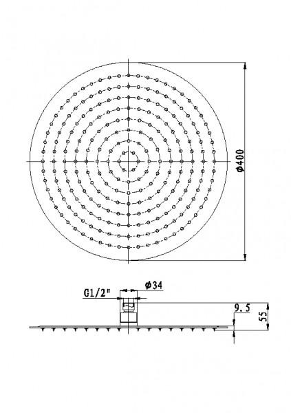 XXL-Regendusche Edelstahl-Duschkopf DPG2015 superflach - 40 cm rund zoom thumbnail 3
