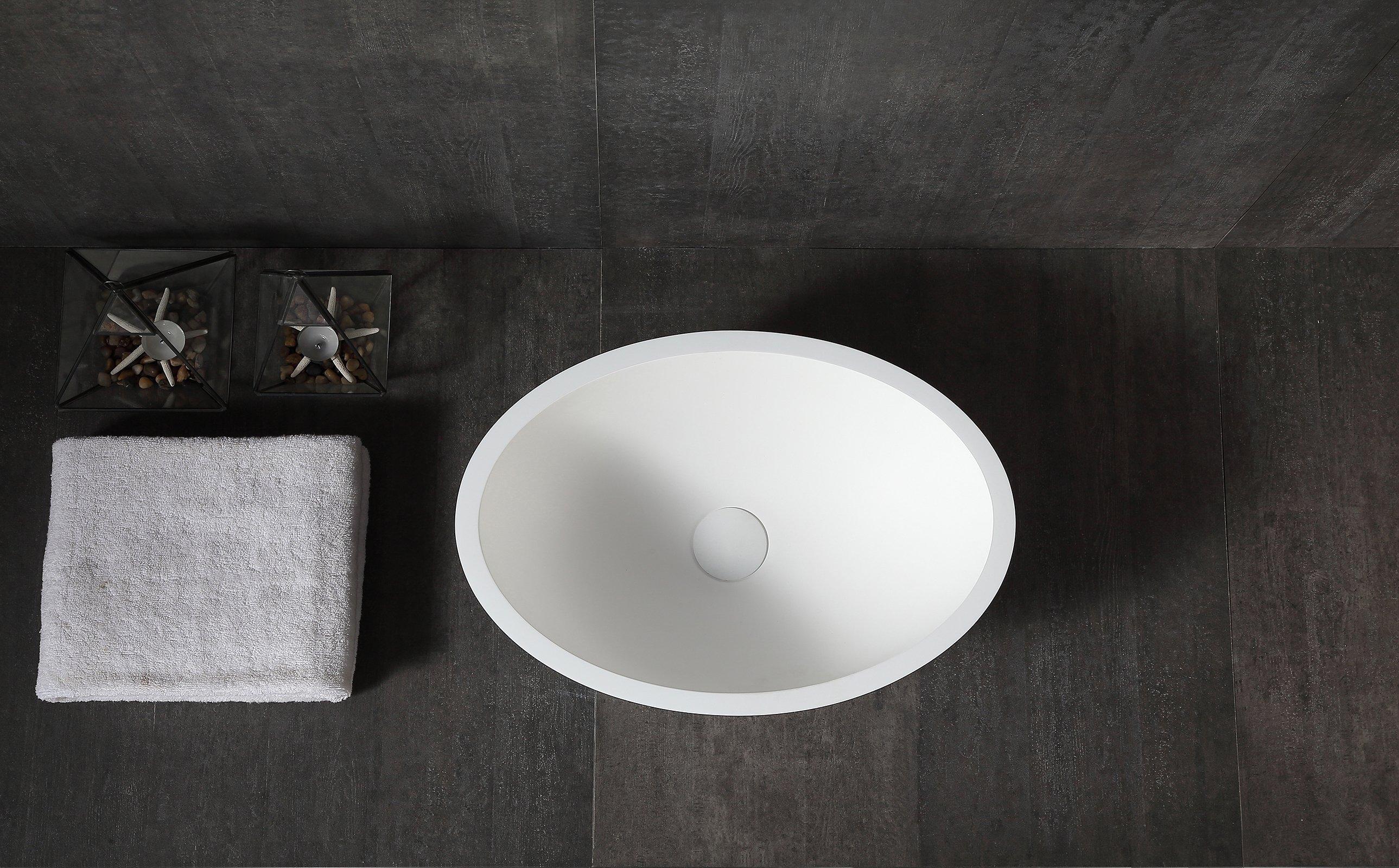 Aufsatzwaschbecken TW2106 aus Mineralguss Pure Acrylic - Matt - 50 x 35 x 15 cm