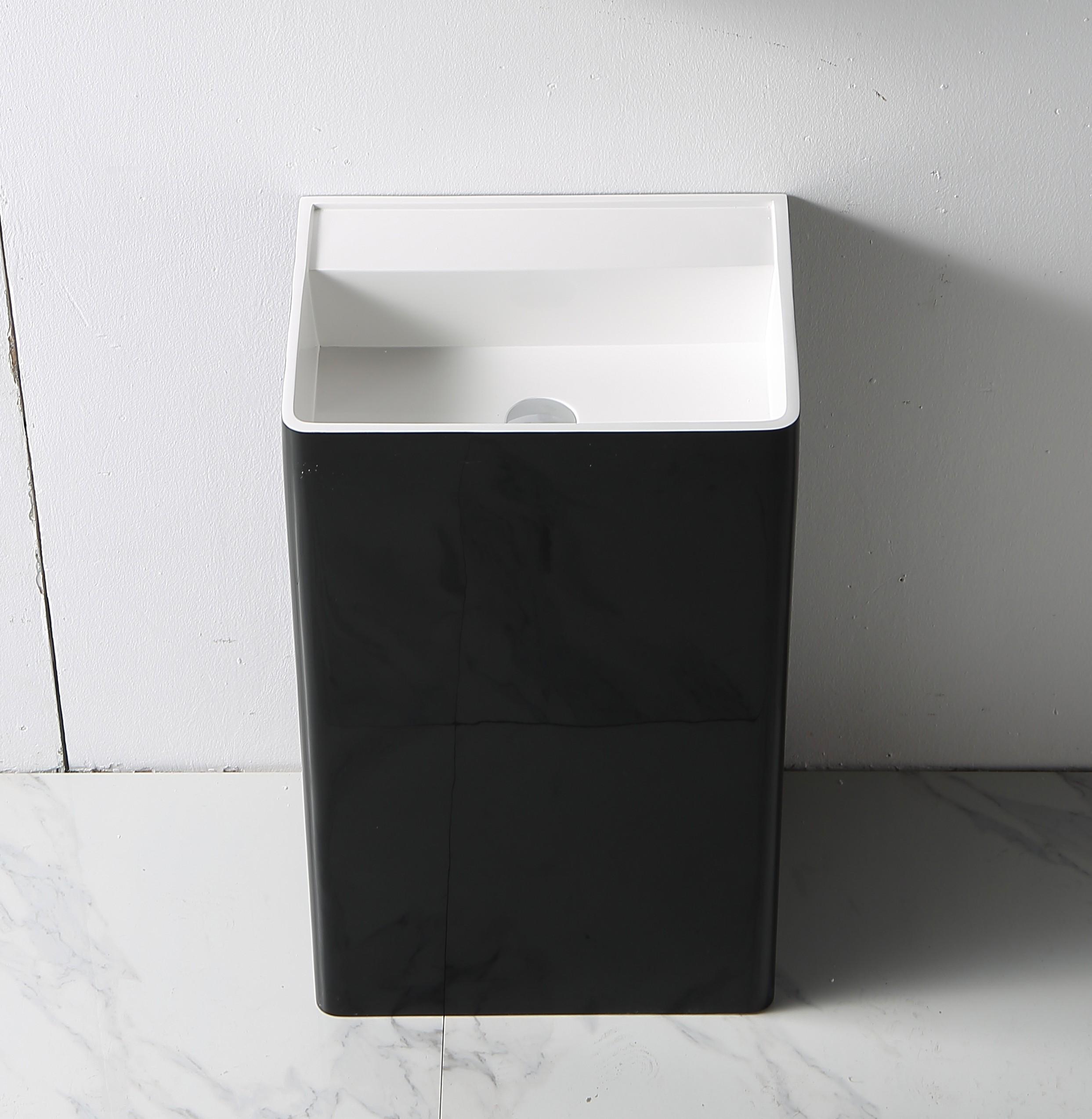 Standwaschbecken TWZ26 aus Mineralguss Solid Stone - in Weiß oder Schwarz - 50x36x85cm