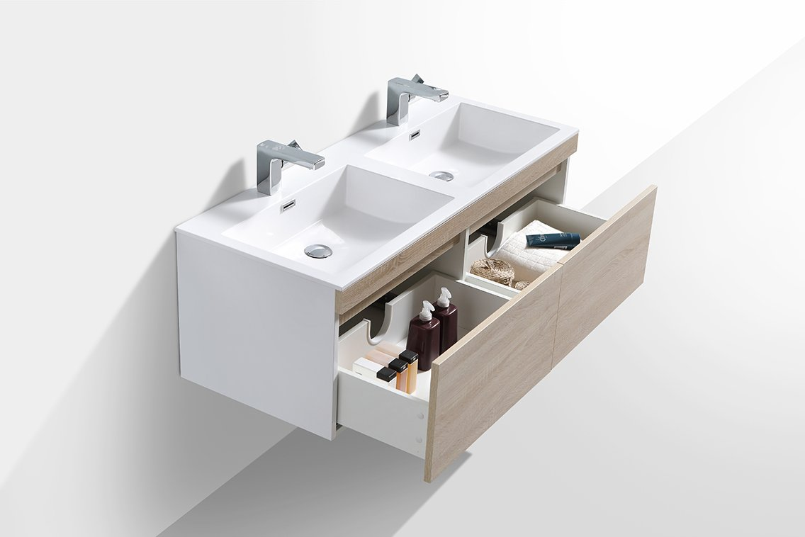 Badmöbel-Set Easy 1200 Weiß inkl. Seitenschrank - Front Eiche hell - Spiegel optional