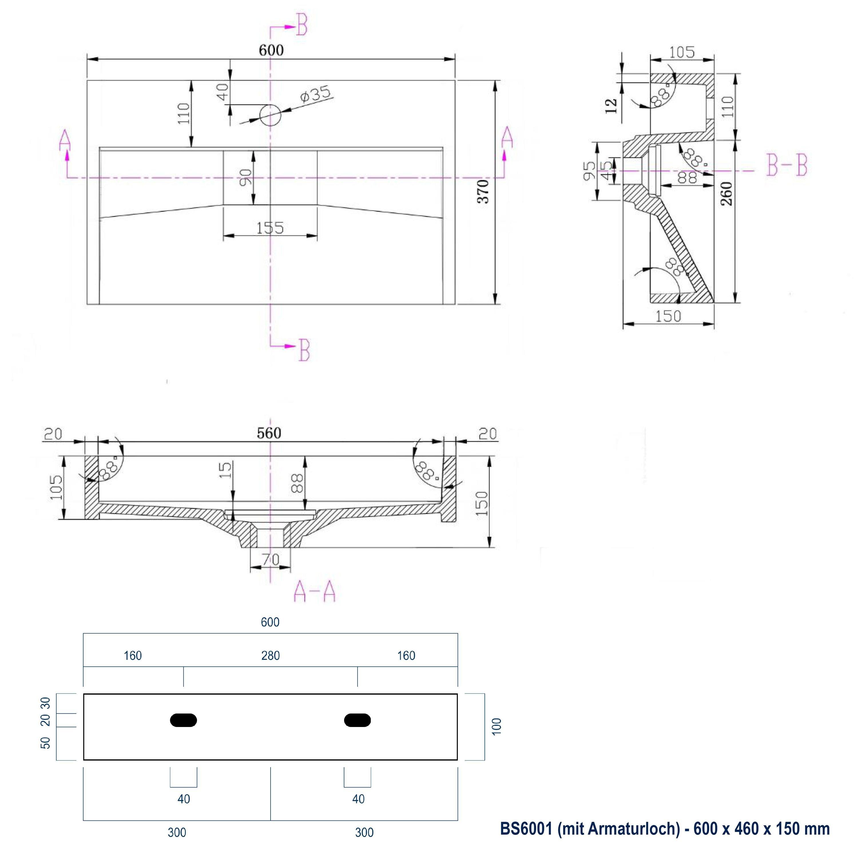 Wandwaschbecken Aufsatzwaschbecken BS6001 - Breite wählbar zoom thumbnail 6