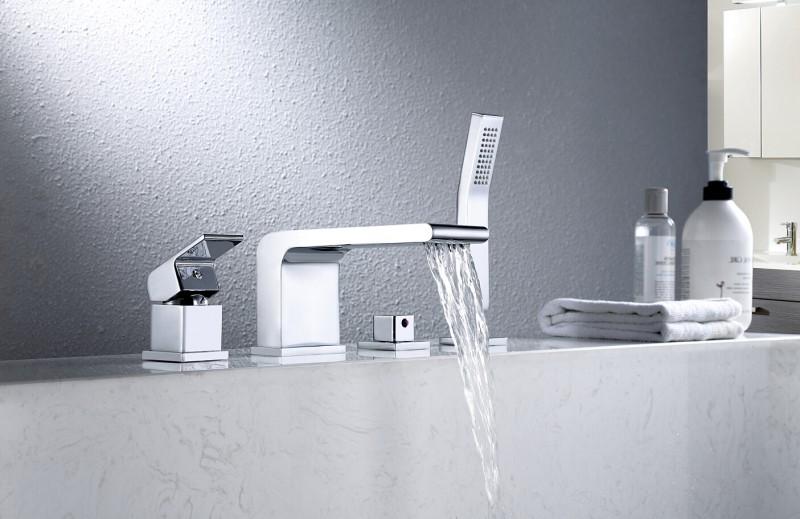 Wannenrandarmatur Fliesenrandarmatur 6080 - Design 4-Loch-Wasserfall-Badewannenarmatur
