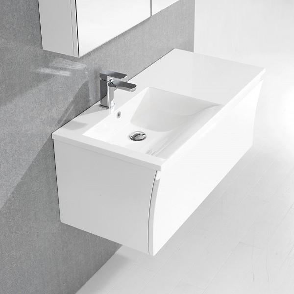 Badmöbel-Set Y1000 Weiß Hochglanz - Badspiegel optional wählbar zoom thumbnail 4