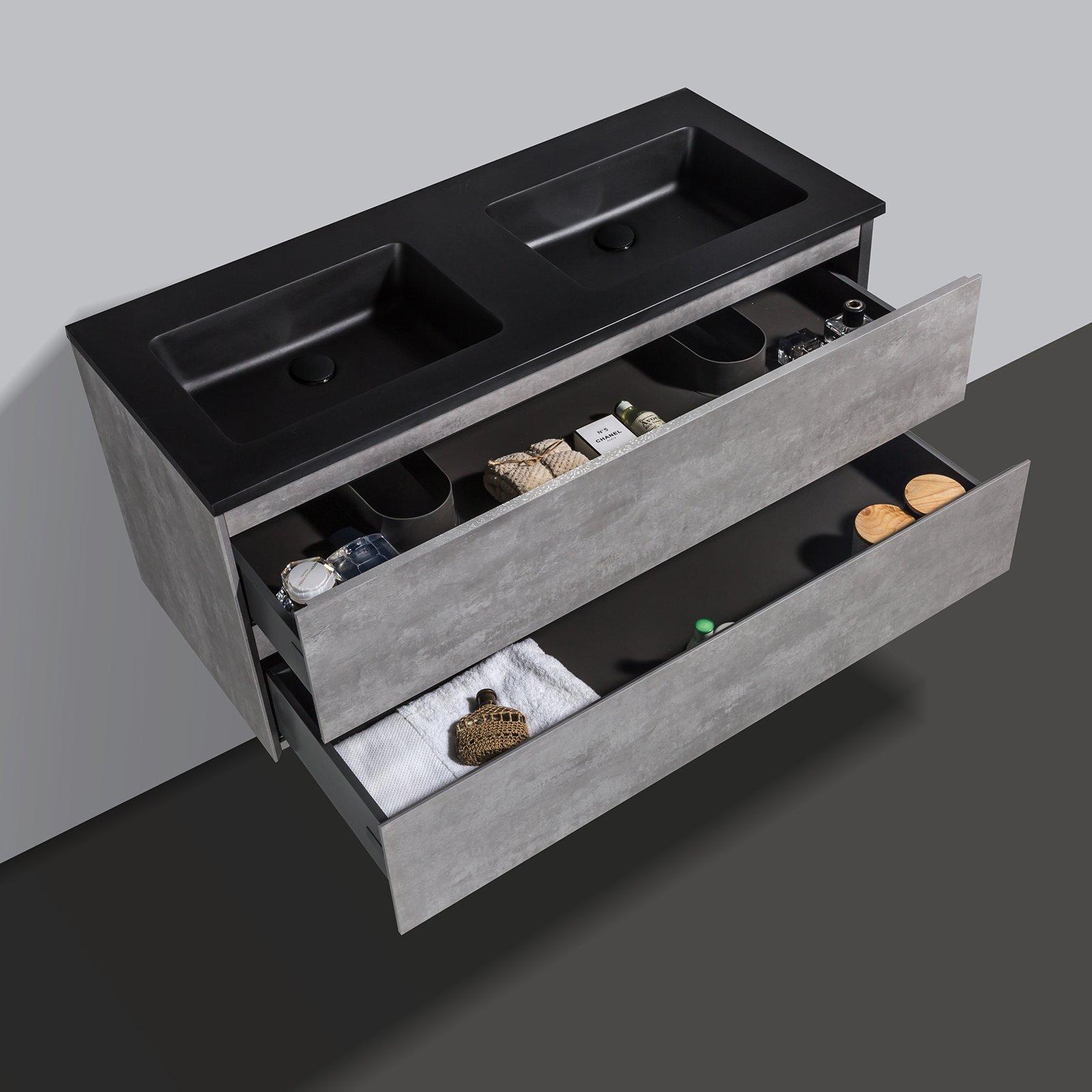 Badmöbel-Set EDGE 1200 - Farbe wählbar - Spiegel & Seitenschrank optional