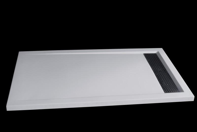 Mineralguss Duschtasse rechteckig 1480BW Edelstahl - Weiß glänzend - 140x80x4,5cm
