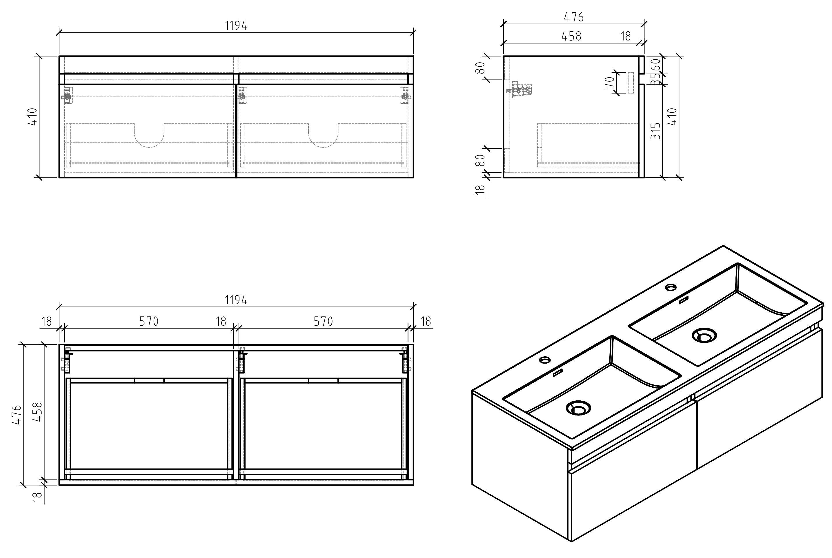 Badmöbel-Set Easy 1200 Weiß inkl. Seitenschrank - Front Eiche hell - Spiegel optional zoom thumbnail 3
