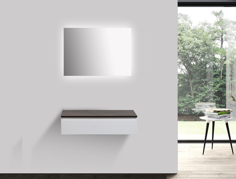 Badmöbel Vision 800 Weiß matt - Spiegel und Aufsatzwaschbecken optional