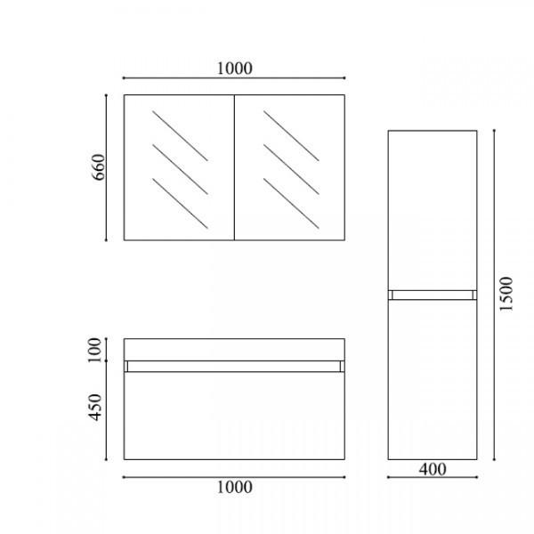 Badmöbel-Set A1000 Weiß inkl. Seitenschrank zoom thumbnail 6
