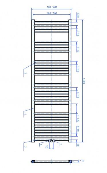 Badheizkörper Handtuchwärmer Chrom gerade - R18C zoom thumbnail 3