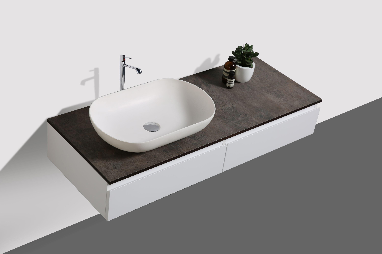 Badmöbel Vision 1200 Weiß matt - Spiegel und Aufsatzwaschbecken optional zoom thumbnail 3