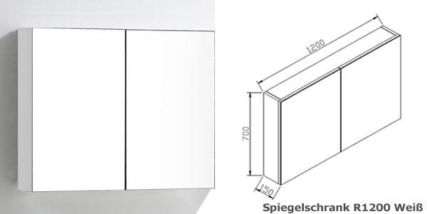 BERNSTEIN Spiegelschrank R1200 mit 2 Türen - Breite 120cm - Farbe wählbar