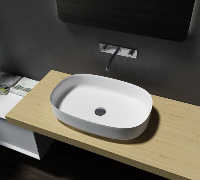 Mineralguss Aufsatzbecken Waschbecken Oval PB2123 - 60x40x13cm - Pure Acrylic