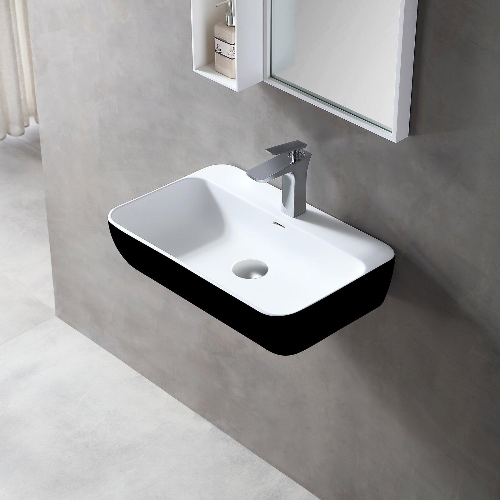 Wandwaschbecken Aufsatzwaschbecken TWG201 aus Mineralguss – Schwarz /Weiß matt – 60x40x14cm