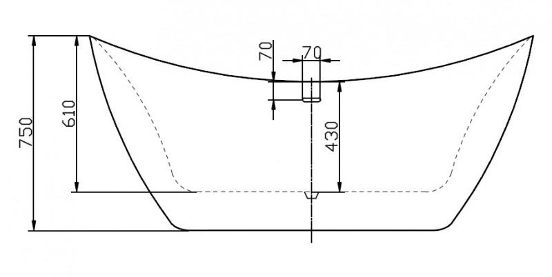 Freistehende Badewanne SIENA Acryl 173 x 73 cm - Weiß glänzend zoom thumbnail 4