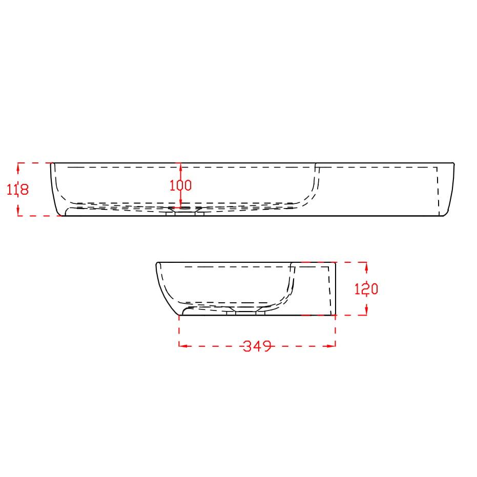 Wandwaschbecken Aufsatzwaschbecken TWG202 aus Mineralguss Solid Stone - Weiß matt - 90x40x12cm zoom thumbnail 6