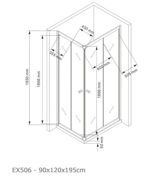 Duschkabine Eckdusche Schiebetüren 6mm NANO Echtglas EX506 - 90x120x195cm zoom thumbnail 5