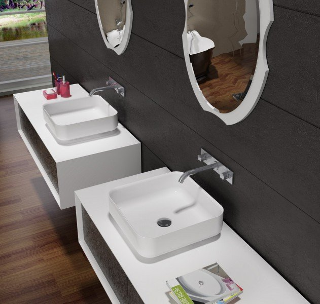 Mineralguss Aufsatzbecken Waschbecken Quadrat PB2120 - 40x40x13cm - Pure Acrylic