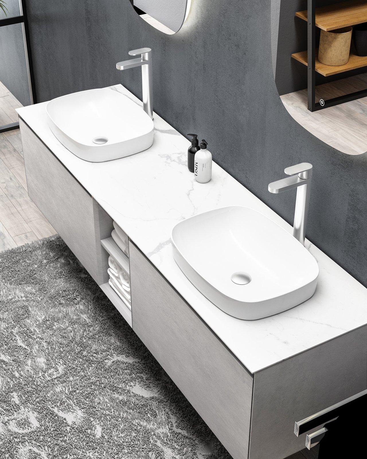 Badmöbel-Set INALCO 1900 Beton-Optik - Spiegel optional
