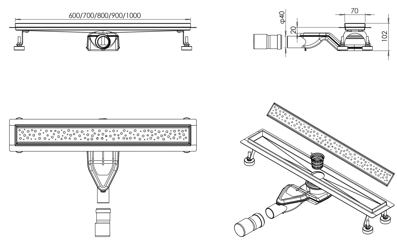 Edelstahl Duschrinne FlexG013 für Duschkabine inkl. Ablaufblende Trend - Länge wählbar zoom thumbnail 5