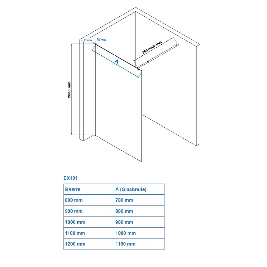Duschabtrennung Walk-In Dusche EX101 8mm Nano Echtglas - Milchglas-Streifen - Breite wählbar zoom thumbnail 6