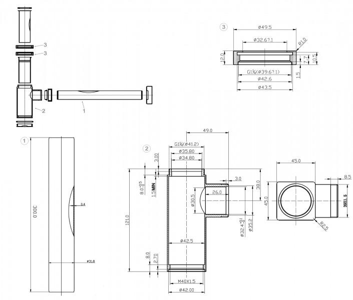 Siphon 3060 für Waschbecken - Eckig zoom thumbnail 3