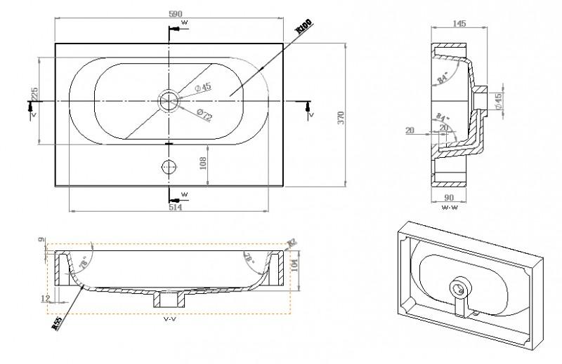 Wandwaschbecken Aufsatzwaschbecken BS6051 59 x 37 x 14,5cm zoom thumbnail 5