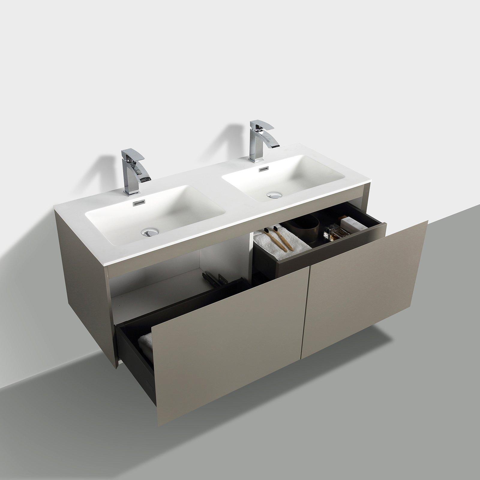 Badmöbel-Set Luna 1200 - optional mit Spiegel und Seitenschrank - verschiedene Farben erhältlich