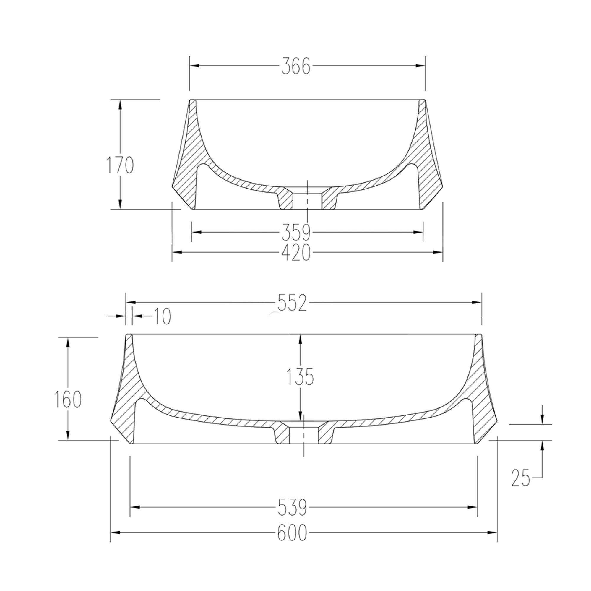 Aufsatzwaschbecken PB2161 aus Mineralguss Solid Stone – 60 x 42 x 16 cm – in Matt oder Hochglanz zoom thumbnail 6