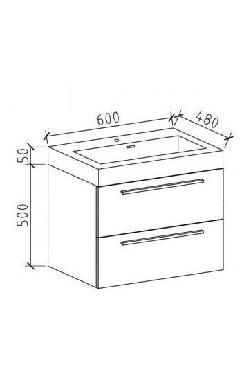 Badmöbelset M600 Eiche geweißt - Badspiegel optional wählbar zoom thumbnail 3