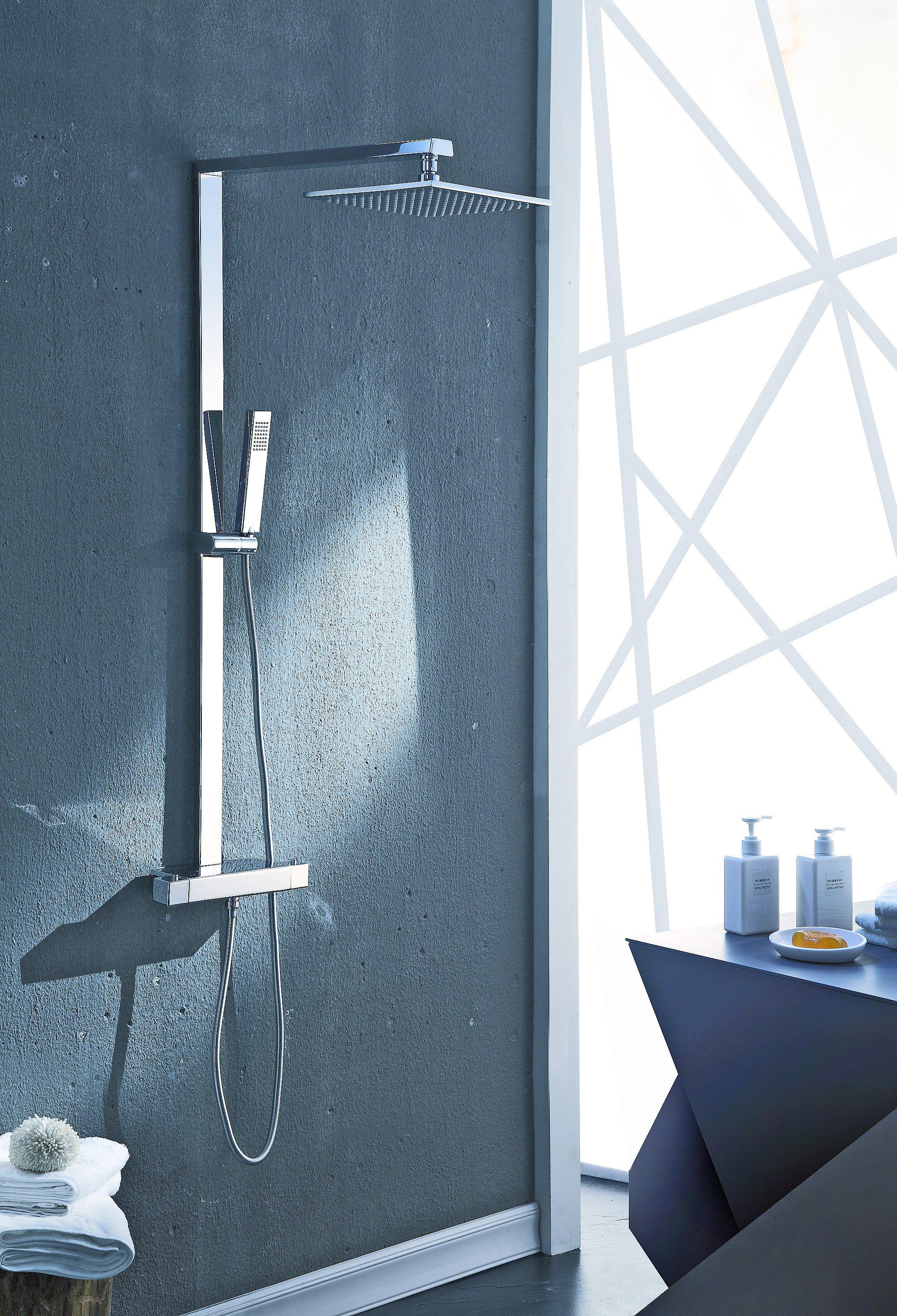 Design Duschsäule NT6705C mit Thermostat inkl. Duschschlauch und Handbrause - Auswahl Duschkopf eckig