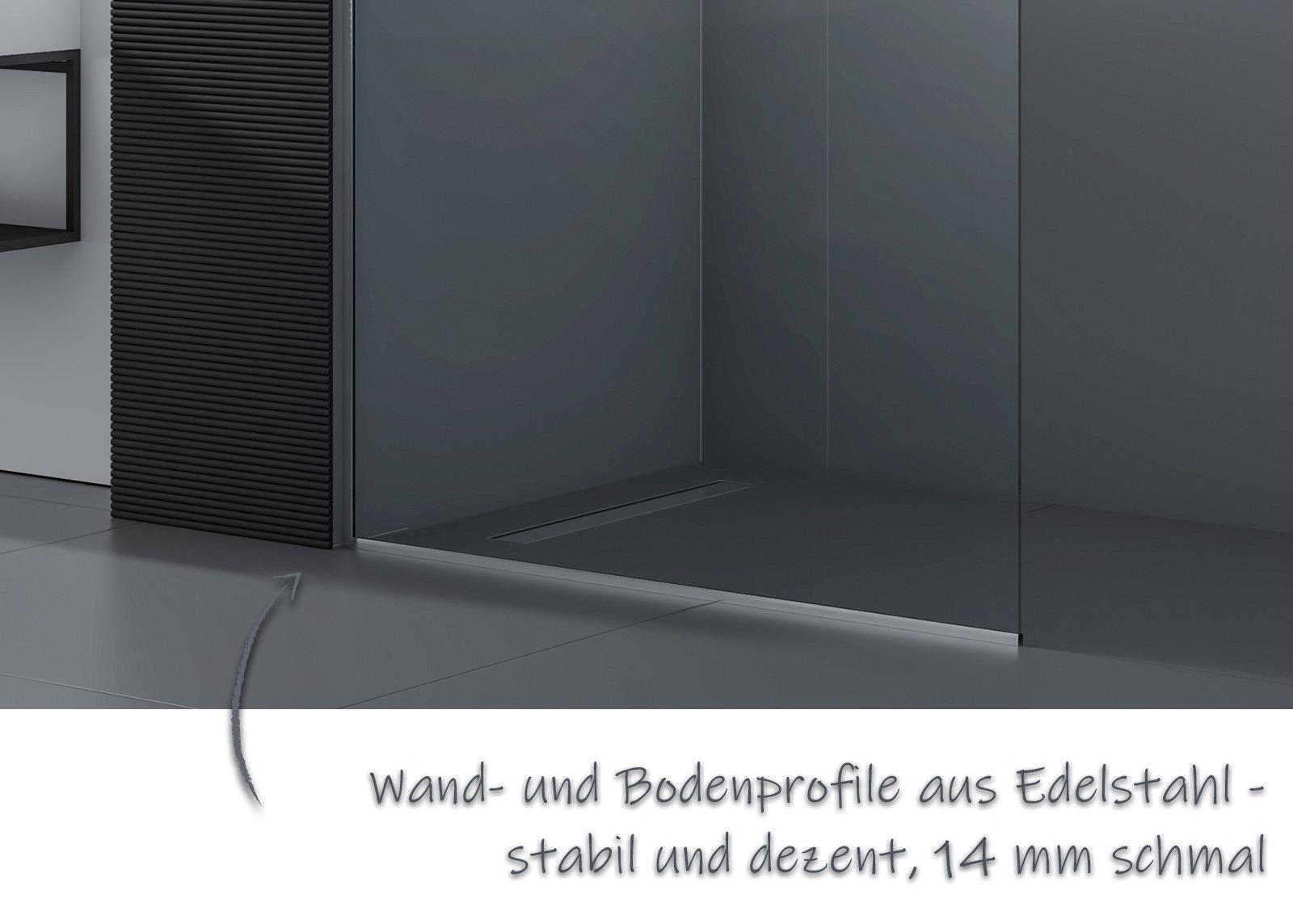 Walk-In 10mm Nano Echtglas EX102 - Klarglas - 1 Glaswand & 14mm Edelstahlprofil - Profilfarbe & Breite wählbar zoom thumbnail 6