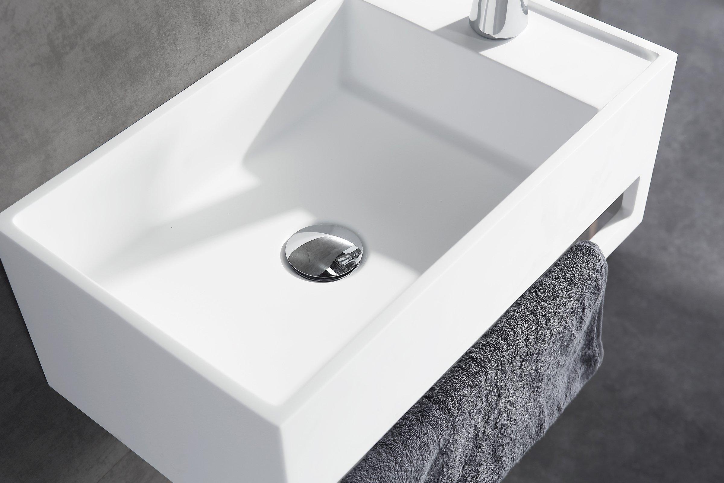 Wandwaschbecken PB2077 aus Mineralguss Solid Stone mit integriertem Handtuchhalter - 50 x 30 x 20 cm - Weiß Matt