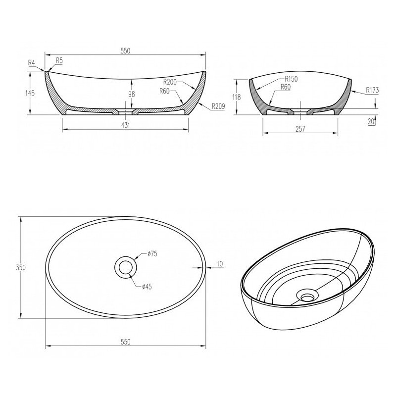 Aufsatzwaschbecken PB2004 aus Mineralguss Pure Acrylic - 55x35x14,5cm - in Matt oder Hochglanz