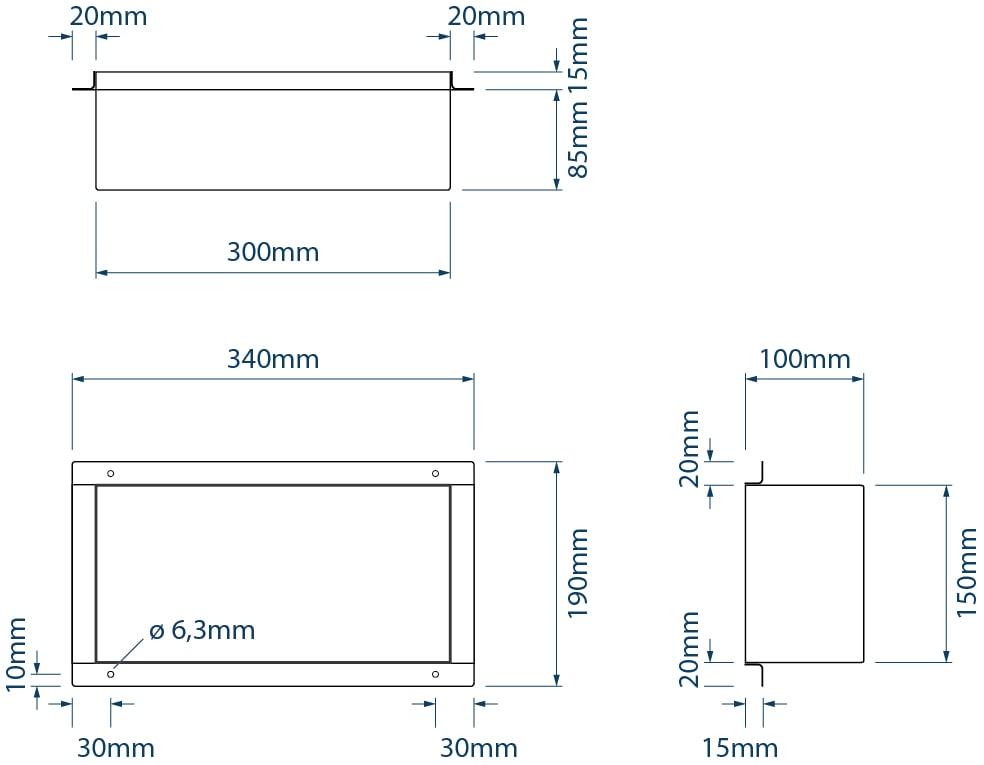 BERNSTEIN Wandnische aus Edelstahl BS153010 randlos - 15 x 30 x 10 cm - Farbe wählbar zoom thumbnail 3