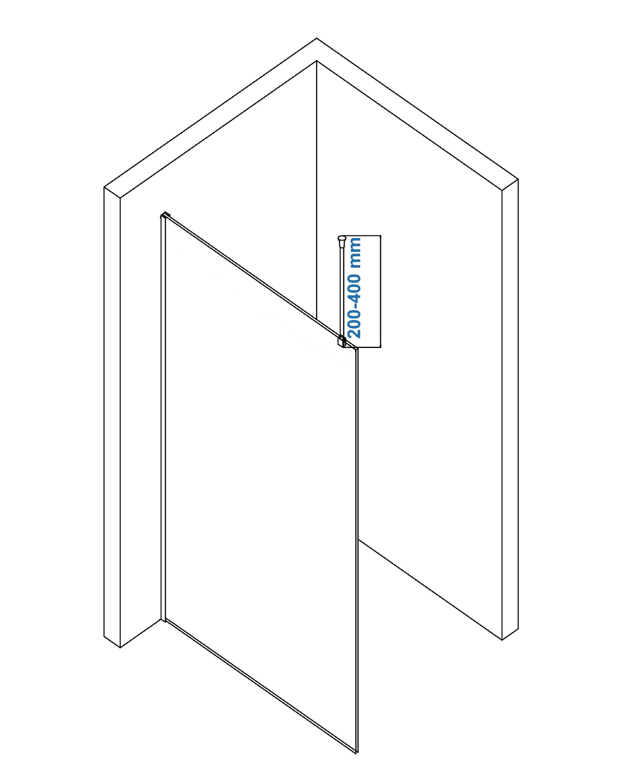 Stabilisationsstange Deckenbefestigung rund für Walk-In Duschabtrennung - Farbe wählbar zoom thumbnail 3