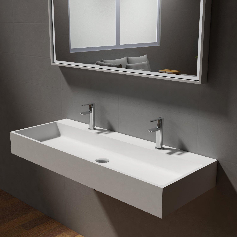 Aufsatzwaschbecken Wandwaschbecken PB2144-1 aus Mineralguss Solid Stone – Weiß Matt – 110 x 42 x 13 cm