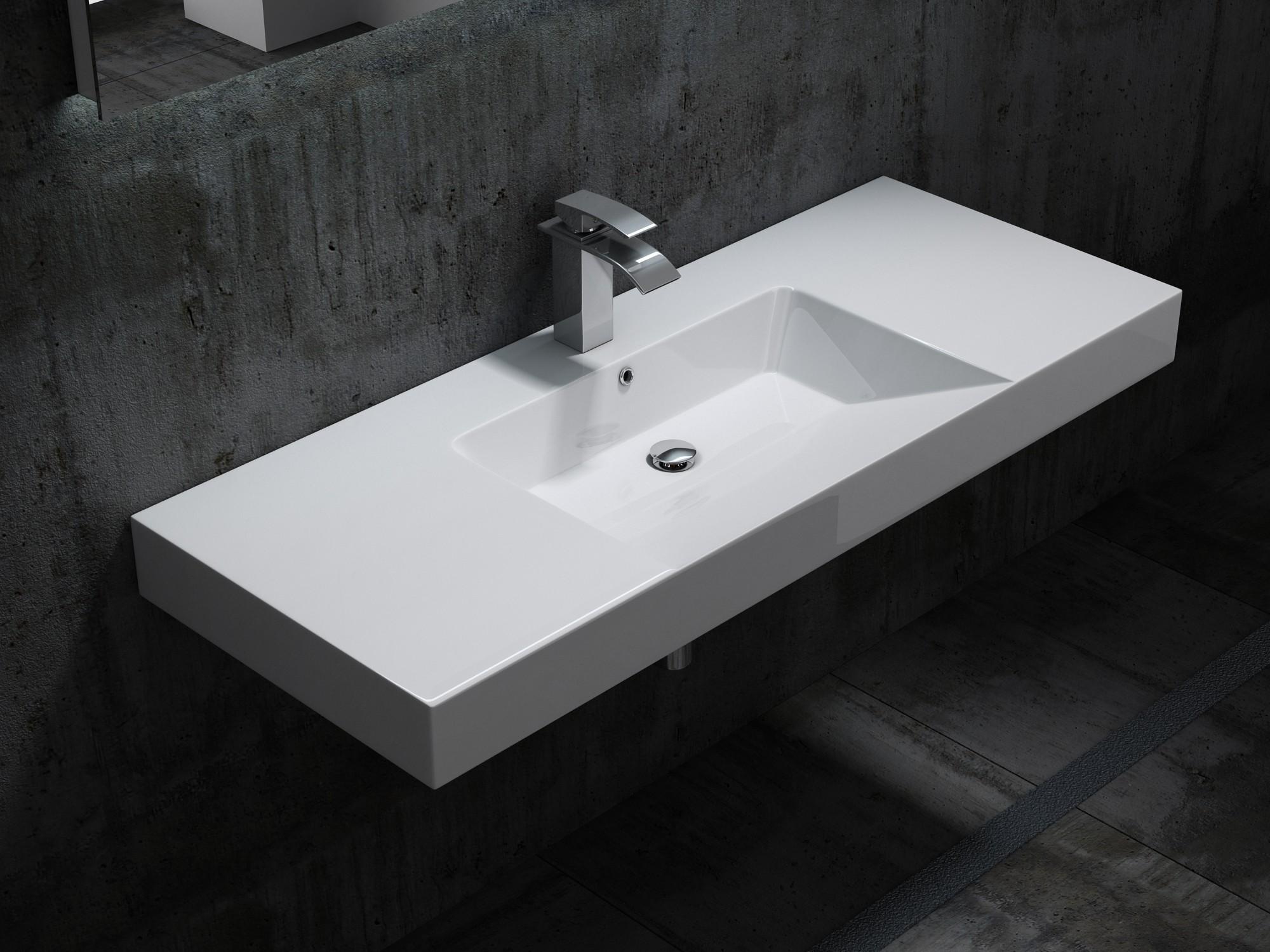 Wandwaschbecken BS6036 in Weiß - 122 x 48 x 13,5 cm