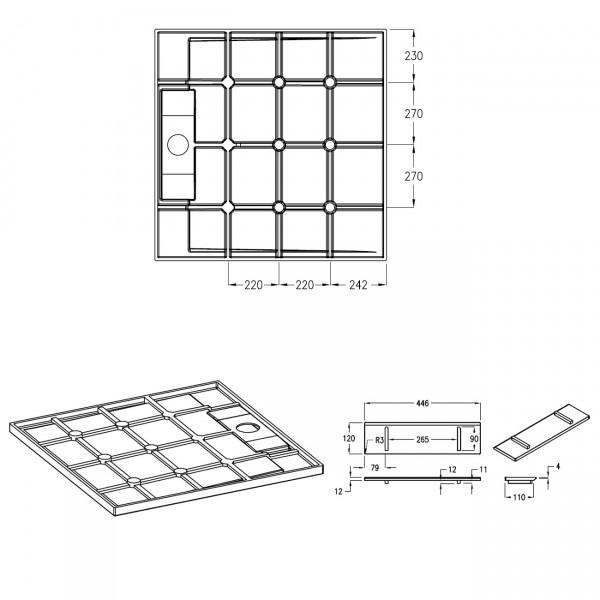 Mineralguss Duschtasse Duschwanne PB3086 - Weiß matt - 100x100x3,5cm  zoom thumbnail 5