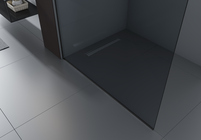 Walk-In 10mm Nano Echtglas EX102 - Klarglas - 2 Glaswände & 14mm Edelstahlprofil - Profilfarbe & Breite wählbar zoom thumbnail 4
