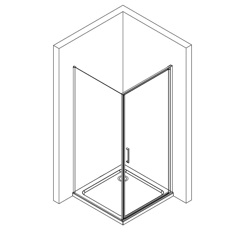 Duschkabine Eckdusche Nano 8mm Echtglas NT416 - Profilfarbe & Breite wählbar zoom thumbnail 6