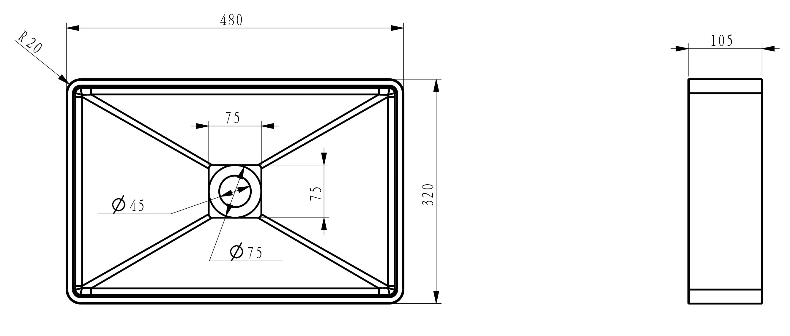 Rechteckiges Aufsatzwaschbecken Aqua PB2011B aus Mineralguss (Solid Stone) – 48 x 32 x 10,5 cm -  Farbe wählbar