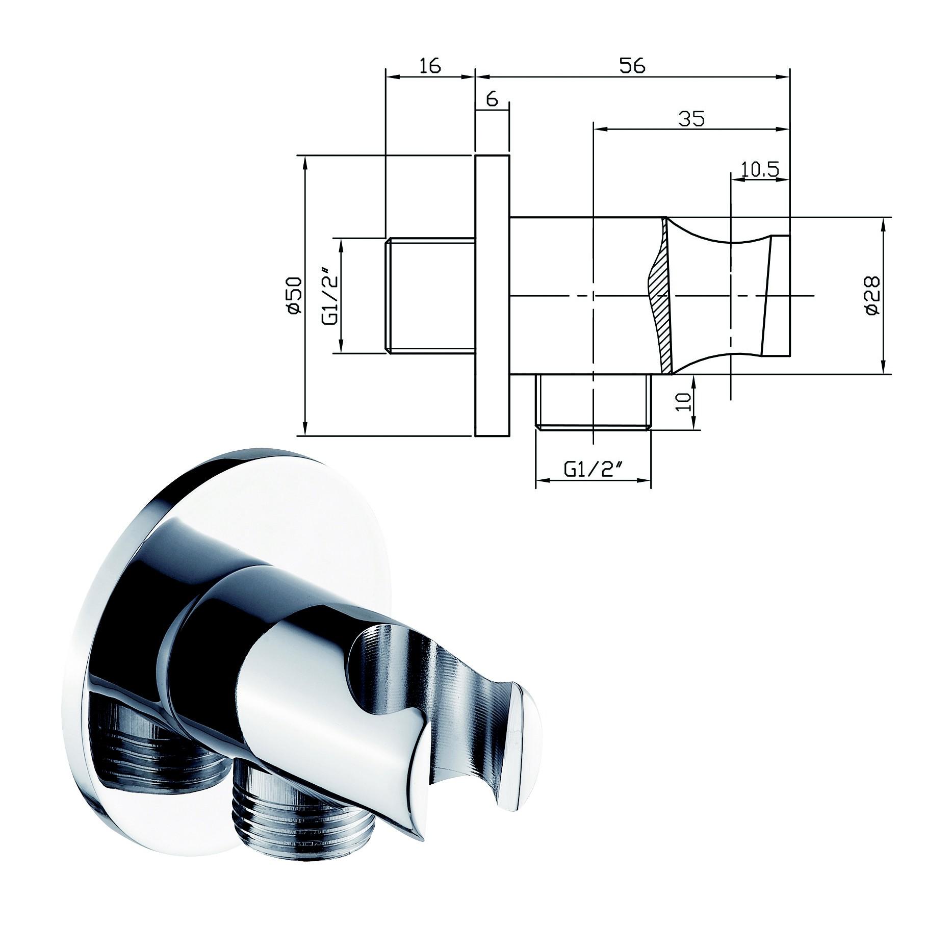 Hochwertige Duschstange DS61 - Duschschlauch / Handbrause / Wandanschlussbogen optional zoom thumbnail 3