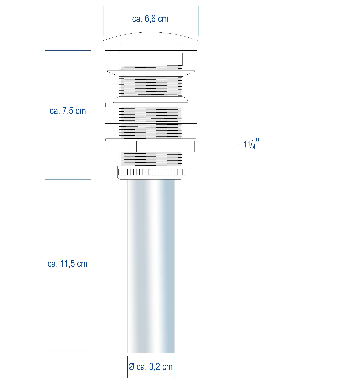 Ablaufgarnitur mit Pop-Up-Funktion für Waschbecken ohne Überlauf  zoom thumbnail 3